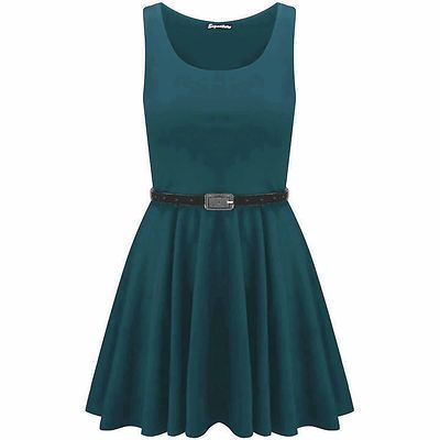 New-Womens-Ladies-Belted-Sleeveless-Franki-Flared-Party-Swing-Skater-Dress-Top thumbnail 6