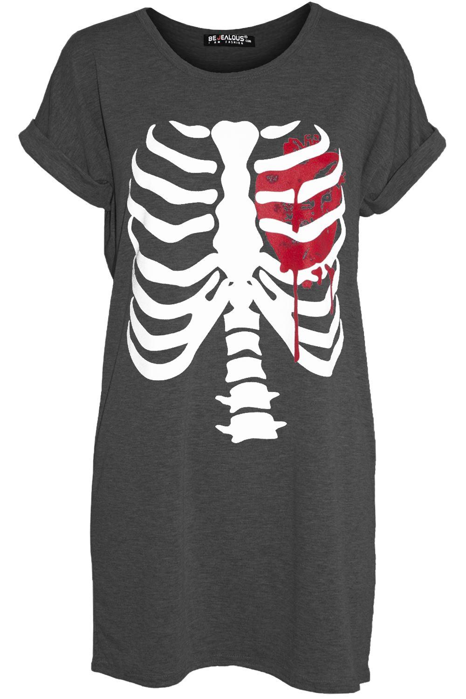 Womens Ladies Halloween Costume Long Sleeve Scary Skeleton Bones Fancy Tee Shirt