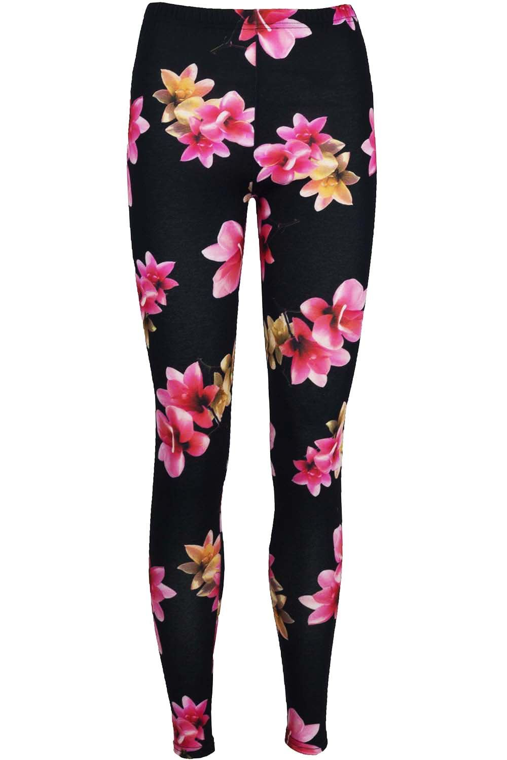 Womens Ladies Floral Roses Printed Stretchy Full Ankle Length Jegging Leggings