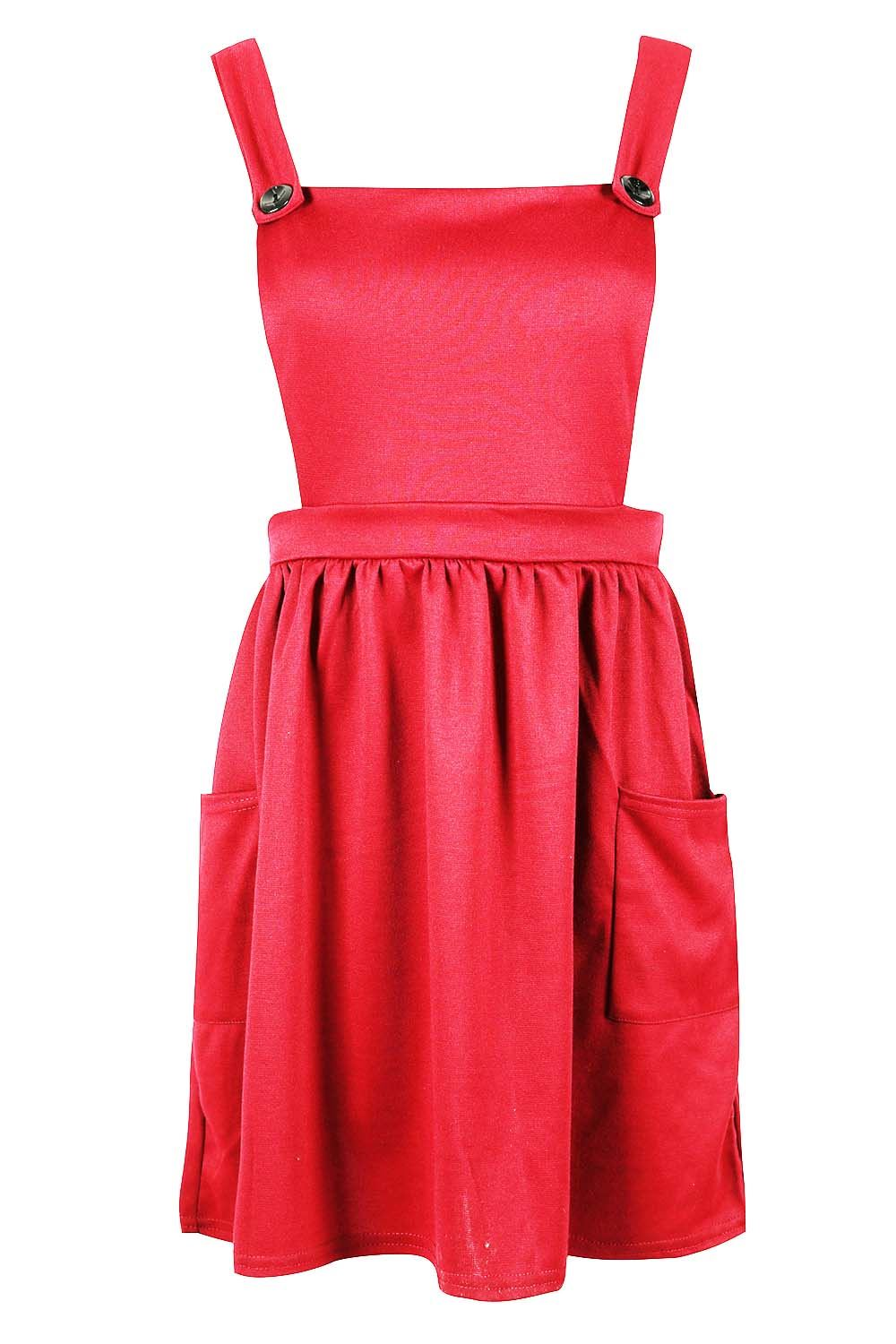 Womens-Ladies-Dungarees-Pinafore-Cross-Back-Strappy-Skater-Flared-Dress-Playsuit thumbnail 6