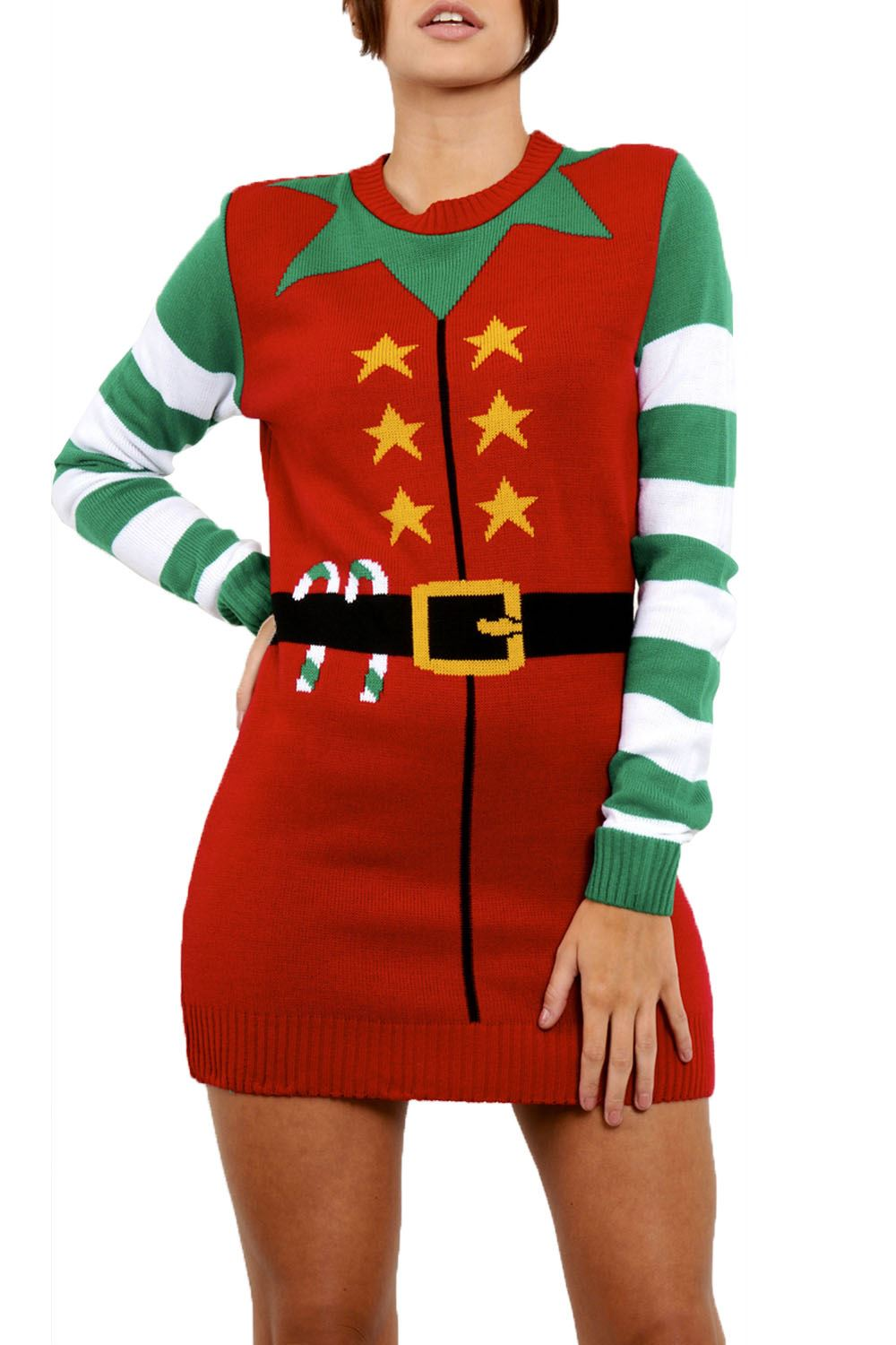 Womens Ladies Knitted Christmas Xmas Elf Costume Oversized Baggy ...