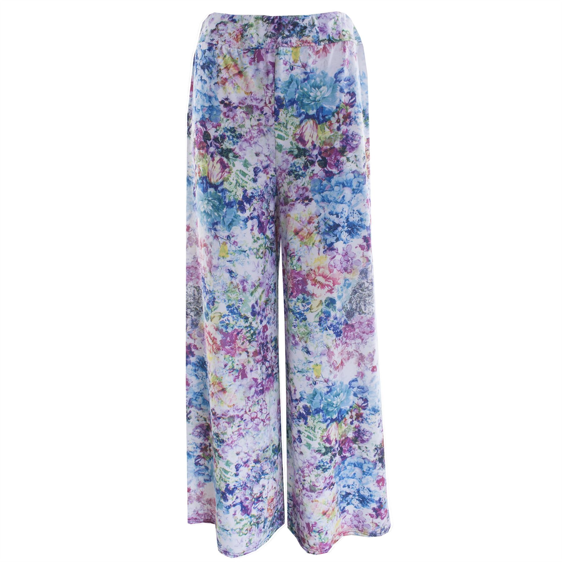 414a6af389f35 Ladies Womens Print Floral Wide Leg Trouser Parallel Flared Palazzo ...