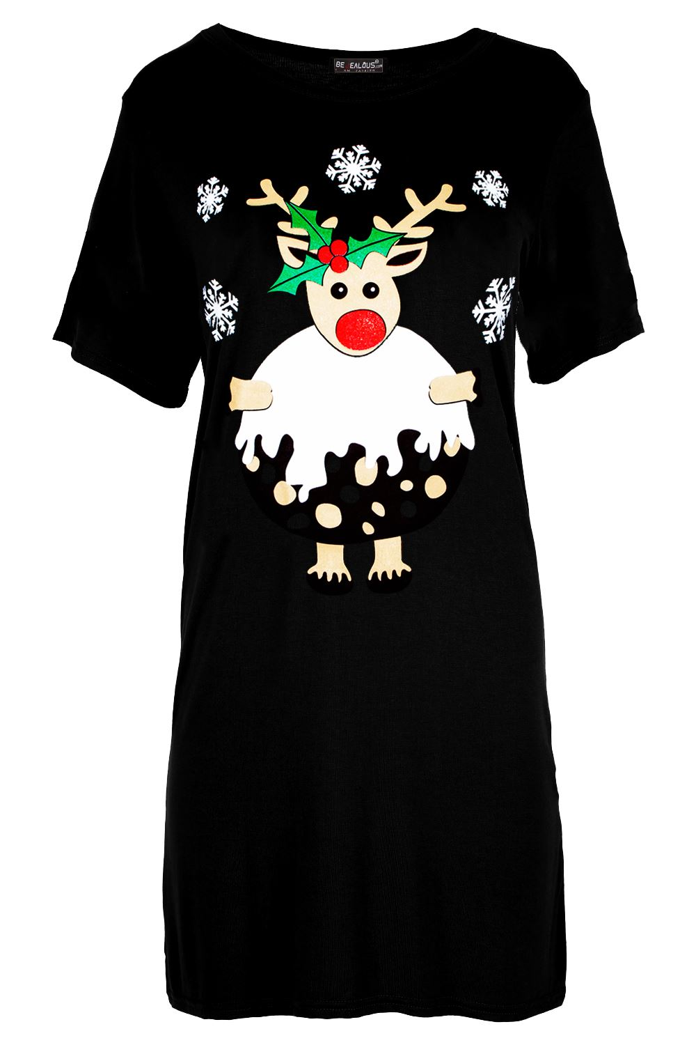 New-Womens-Ladies-Christmas-Gingerbread-Hat-Candy-Baggy-Oversized-T-Shirt-Dress