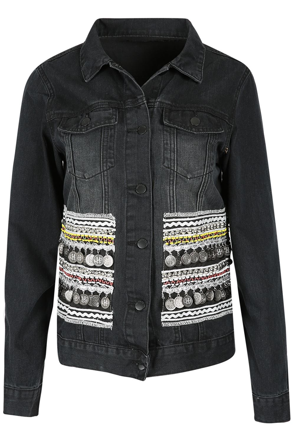 Womens Ladies Denim Collared Front Pocket Button Down Biker Coat Cropped Jacket