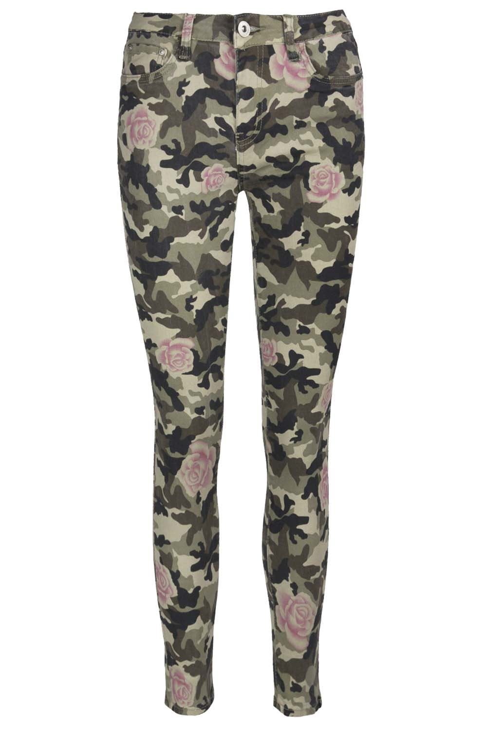 Womens Camouflage Army Rose Printed Jeans Trouser Skinny ...