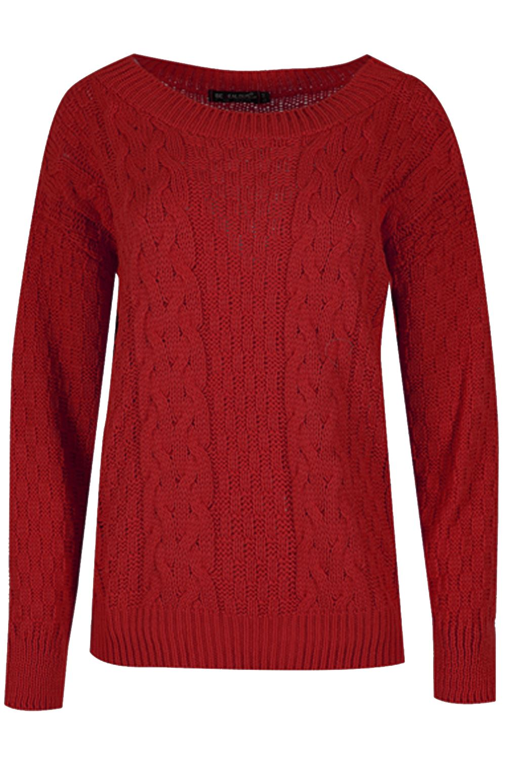 Womens-Ladies-Grid-Chunky-Knit-Cable-Knitted-Round-Neck-Oversized-Baggy-Jumper