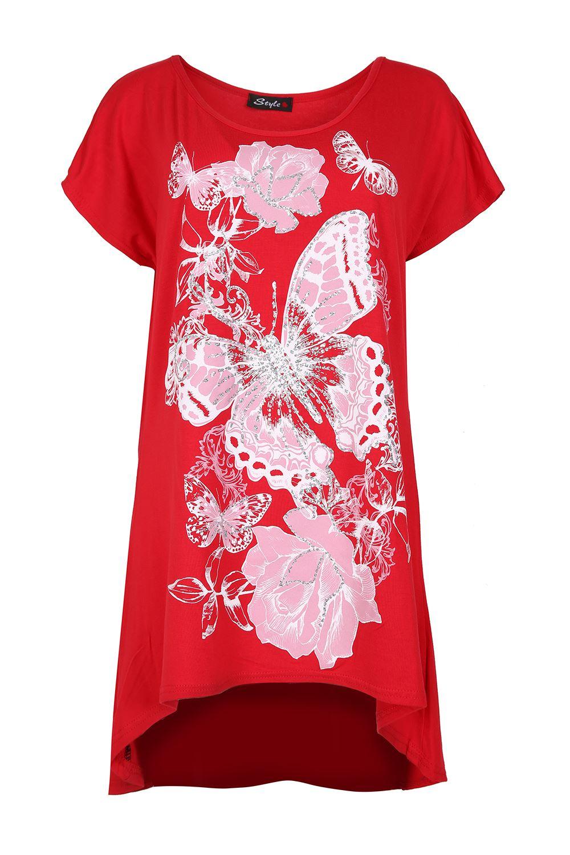 Ladies Womens Butterflies Floral Oversized Dress T Shirt High Low Top Plus Size