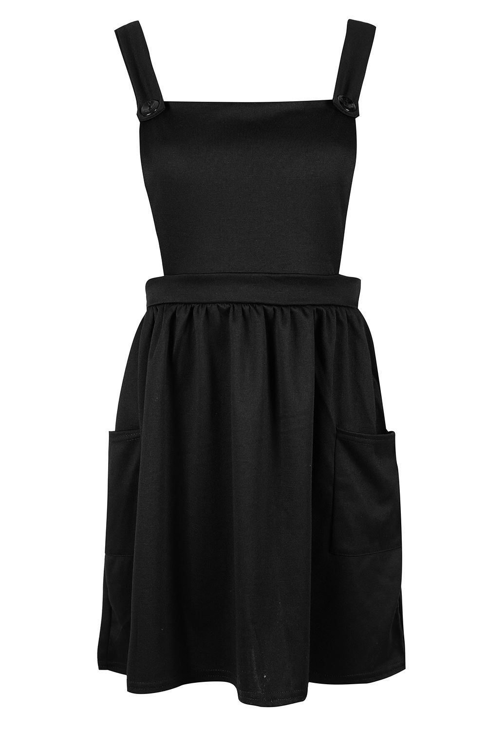 Womens-Ladies-Dungarees-Pinafore-Cross-Back-Strappy-Skater-Flared-Dress-Playsuit thumbnail 2