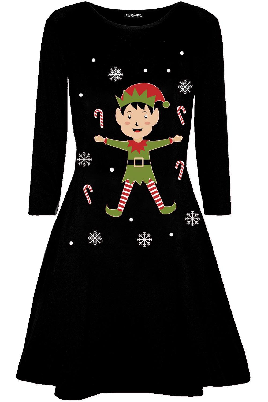 Womens-Christmas-Long-Sleeve-Santa-Reindeer-Gingerbread-Ladies-Swing-Mini-Dress thumbnail 41