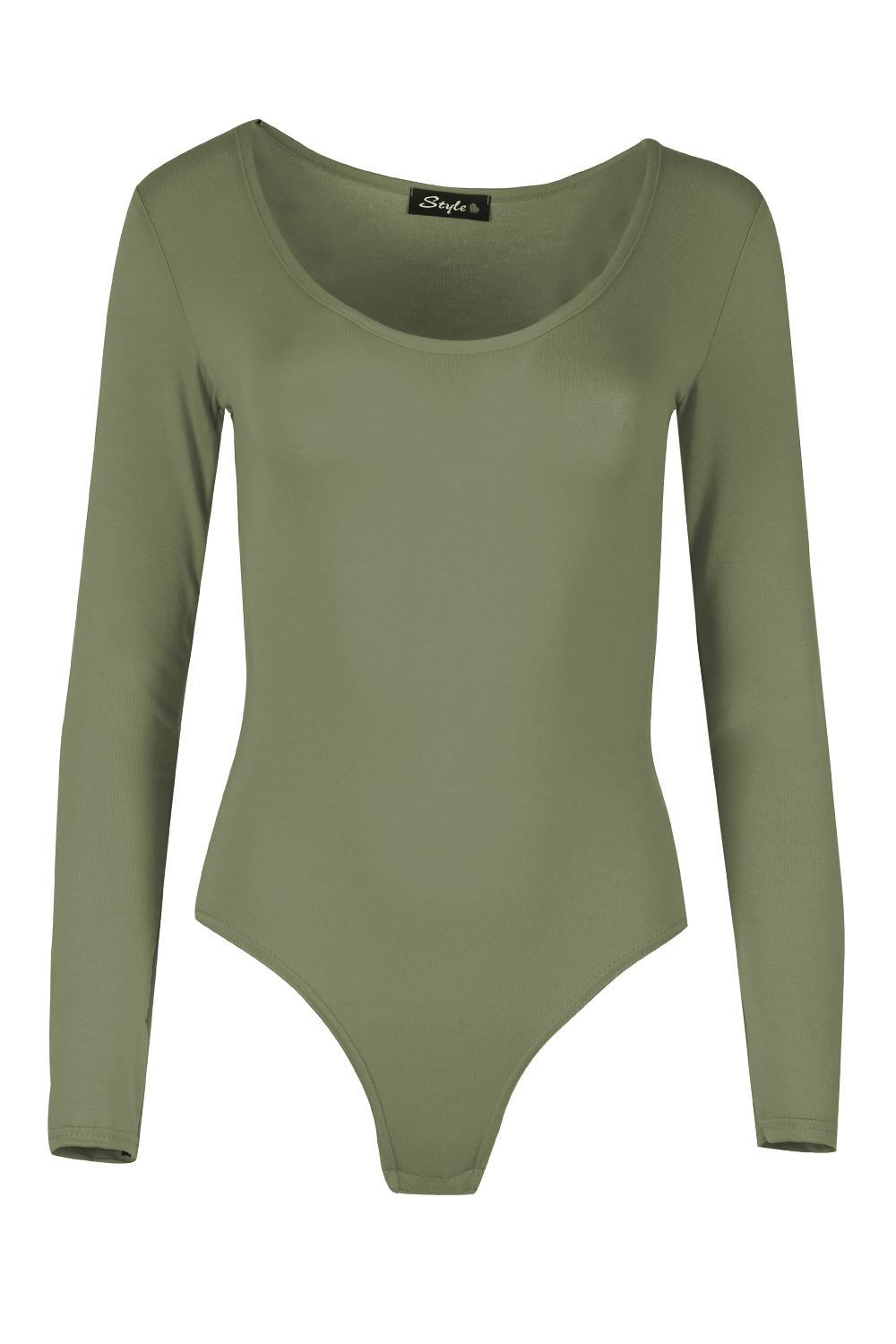e8cce541e4 Womens Plain Long Sleeves Plain Jersey Leotard Ladies Round Neck ...
