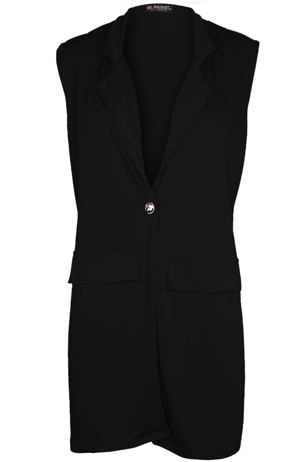 Women-Ladies-Sleeveless-Long-Duster-Coat-Collar-Waistcoat-Smart-Blazer-Plus-Size thumbnail 16