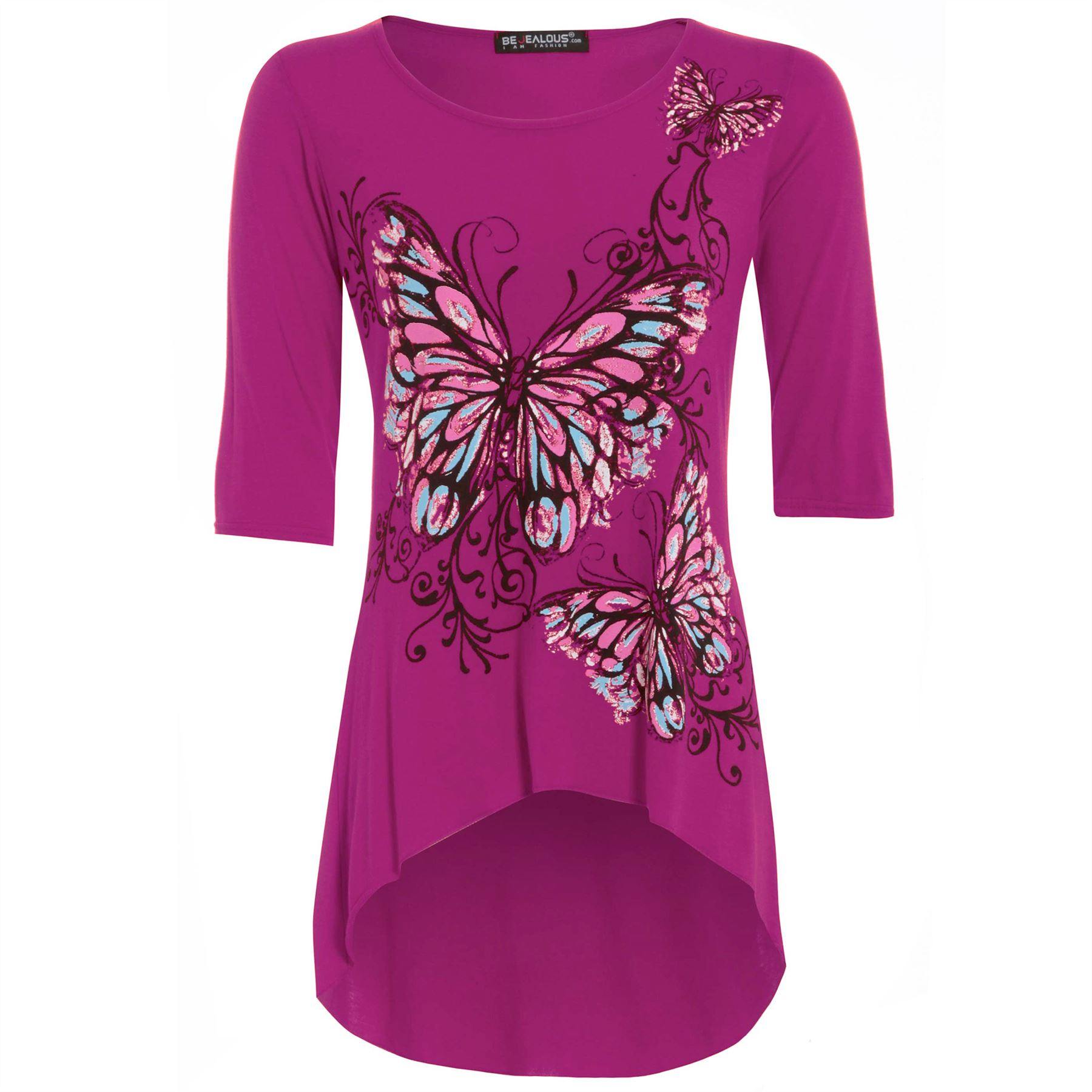 Womens-High-Low-Top-Ladies-3-4-Sleeves-Butterfly-Print-Dip-Hem-Tunic-Plus-Size
