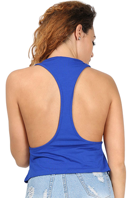 d4cb67f674e Womens Ladies Plain Tank Top Racer Muscle Back Deep Side Cut Out Crop Plus  Size