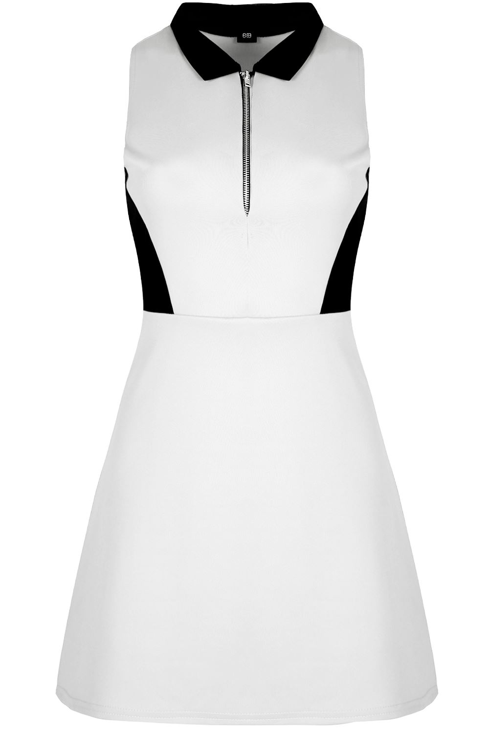Womens-Casual-Party-Silver-Zip-Up-Contrast-Sleeveless-Skater-Dress-Plus-Sizes thumbnail 5