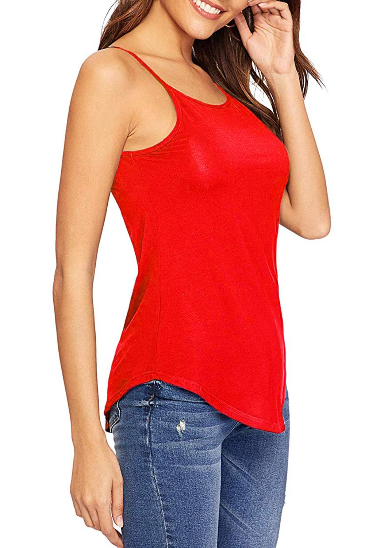 Senoras-para-mujer-normal-Camisola-Con-Correas-Sin-Mangas-Dobladillo-Curvo-Tanque-camiseta-Chaleco miniatura 6