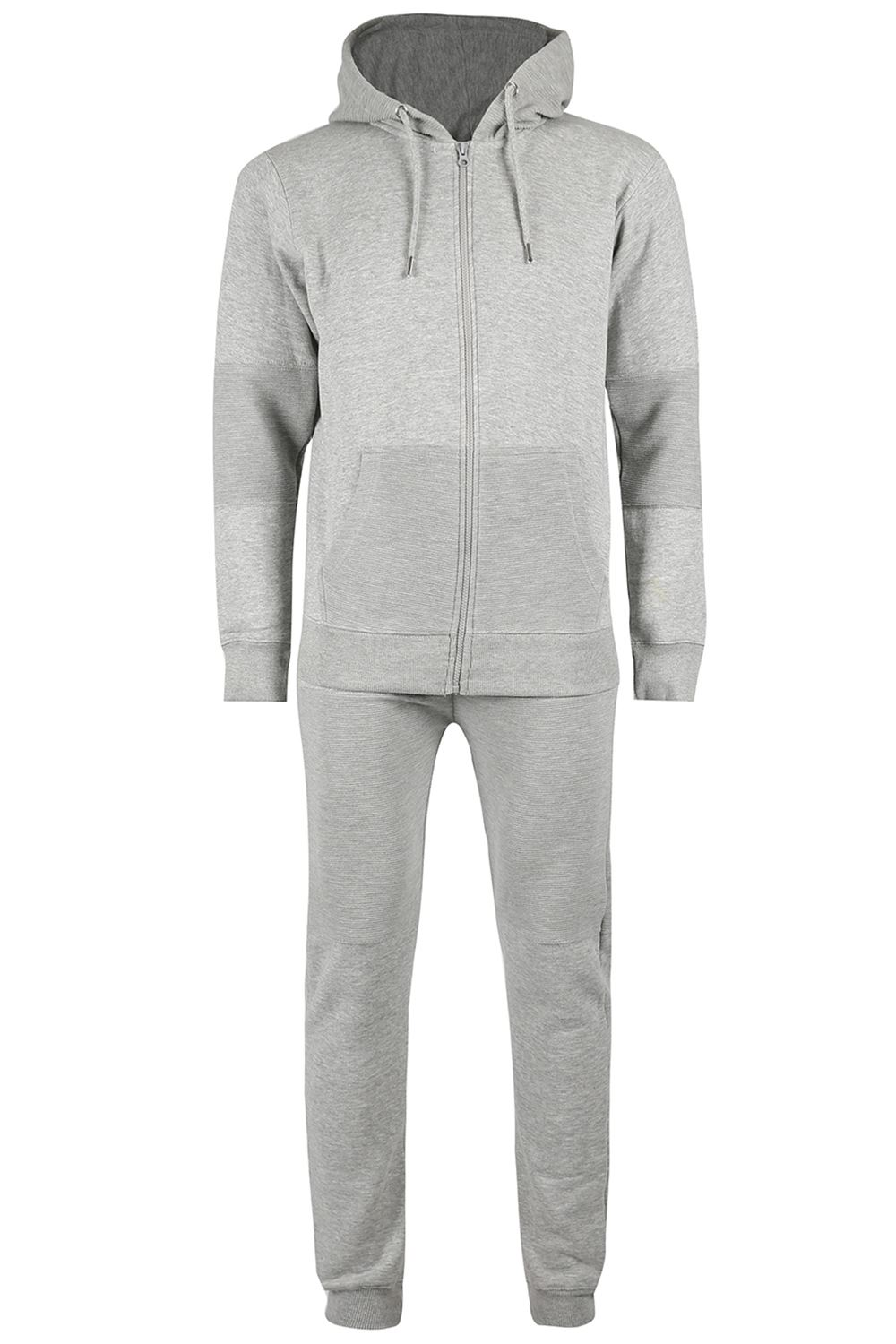 Mens-Pocket-Fleece-Knit-Hooded-Long-Sleeve-Overhead-Top-Zip-Up-Trouser-Tracksuit