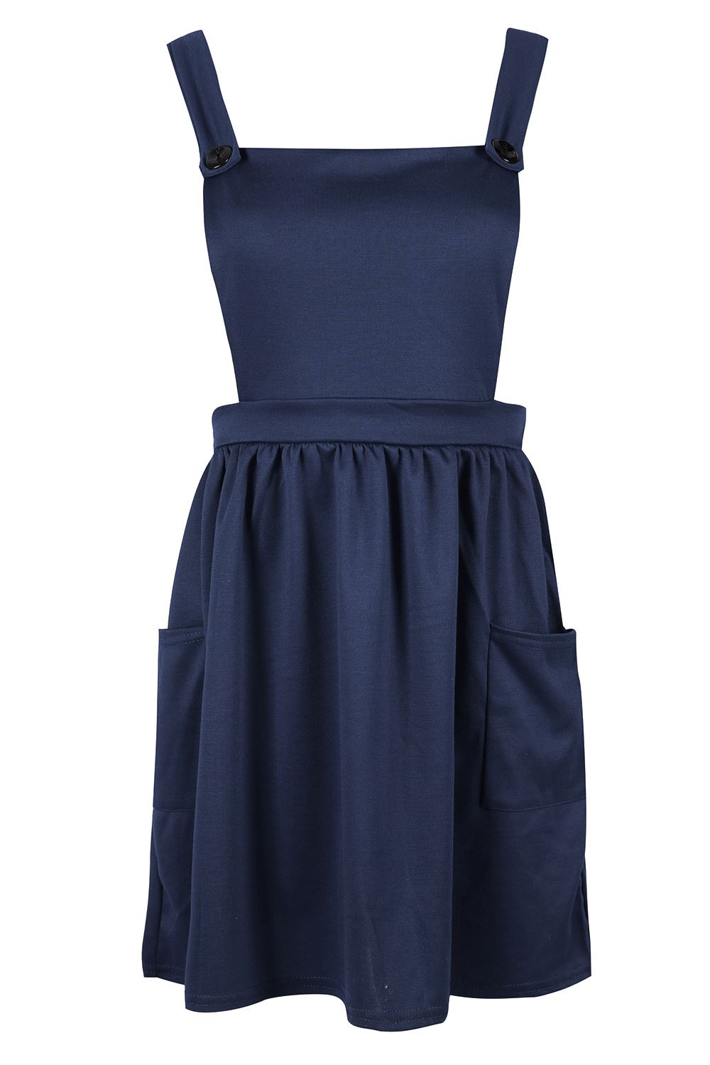 Womens-Ladies-Dungarees-Pinafore-Cross-Back-Strappy-Skater-Flared-Dress-Playsuit thumbnail 4
