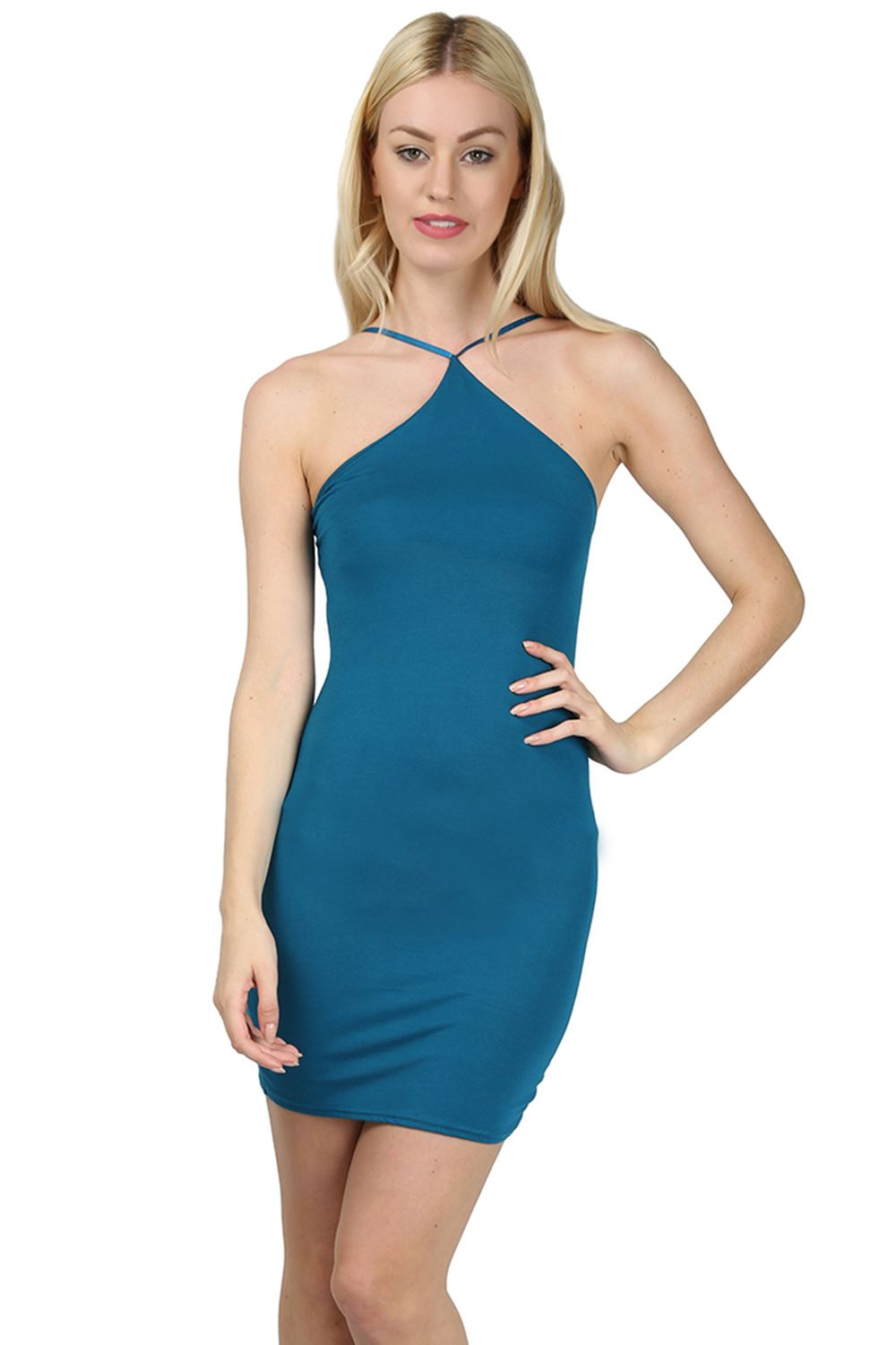 Shape navy ruched side strappy bodycon dress