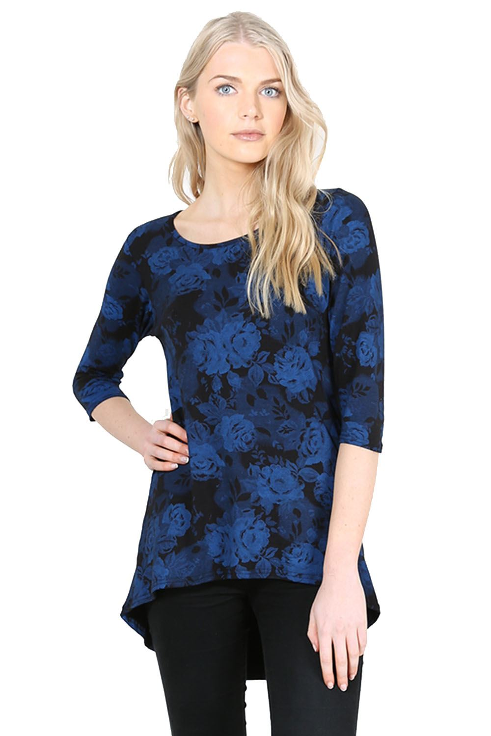 Ladies womens printed round neck 3 4 sleeve hem stretchy for Low neck t shirts women s