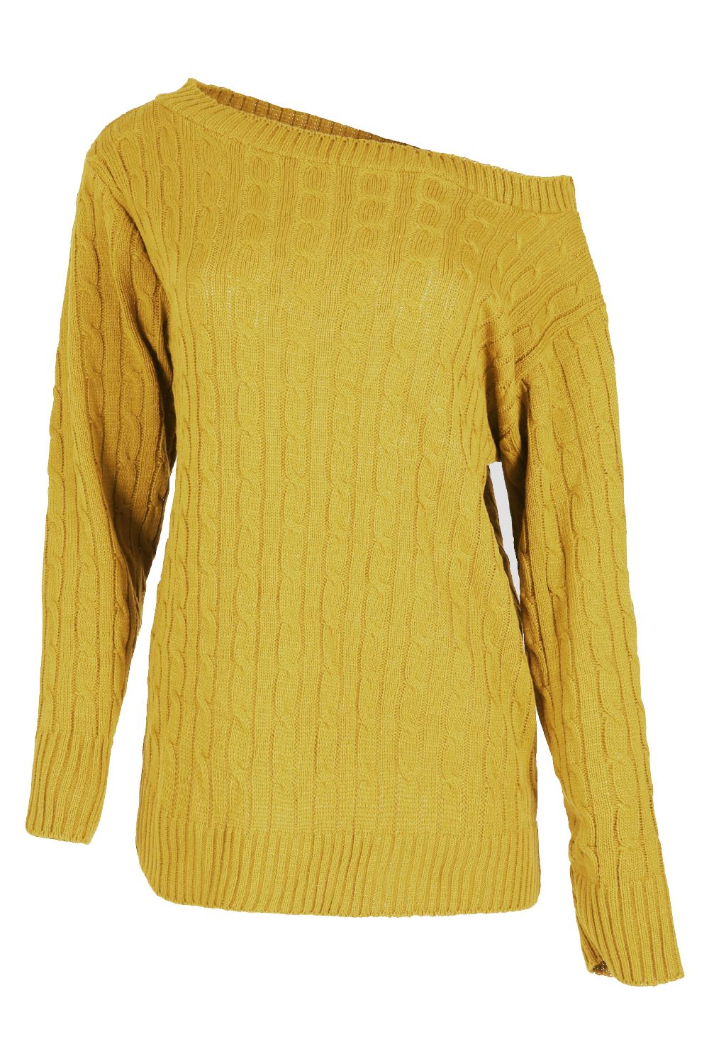 Womens-Ladies-Off-The-Shoulder-Chunky-Knitted-Oversized-Baggy-Sweater-Jumper-Top