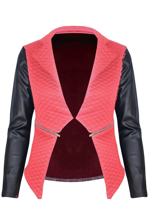 New-Womens-Ladies-Quilted-PVC-Long-Sleeves-Zip-Blazer-Top-Waterfall-Jacket-Coat thumbnail 7