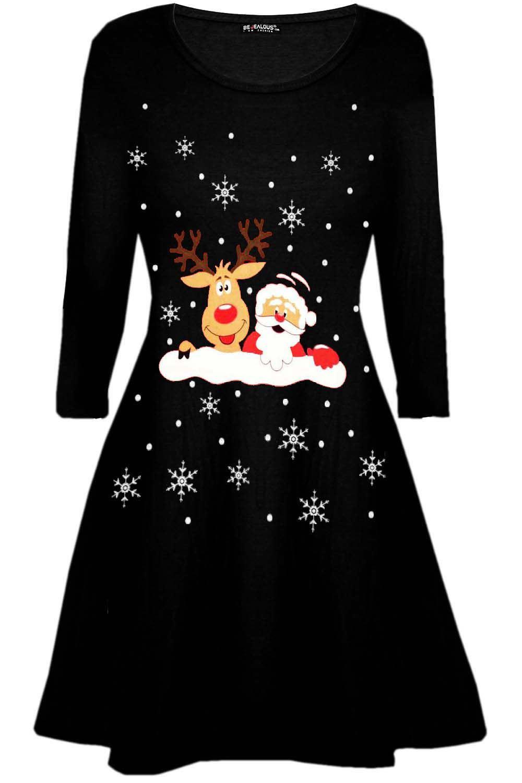 Womens-Ladies-Christmas-Xmas-Santa-Face-Gifts-Reindeer-Flared-Swing-Mini-Dress thumbnail 21