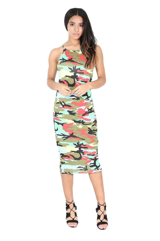 Womens Midi Dress Ladies Print High Neck Fitted Cami Thin ...