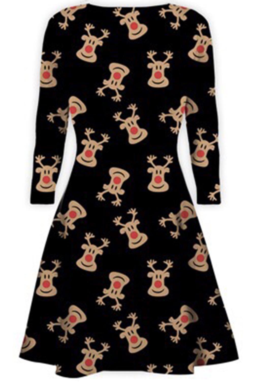 Women-Ladies-Kids-Girls-Xmas-Santa-Gifts-Christmas-Print-Skater-Mini-Swing-Dress thumbnail 4