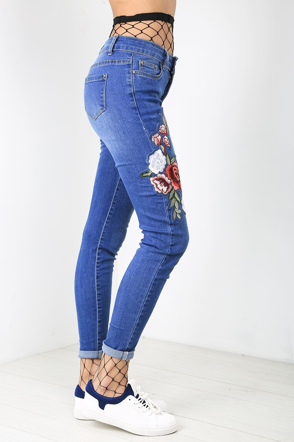 Womens denim jeans fade flower rose embroidered skinny fit