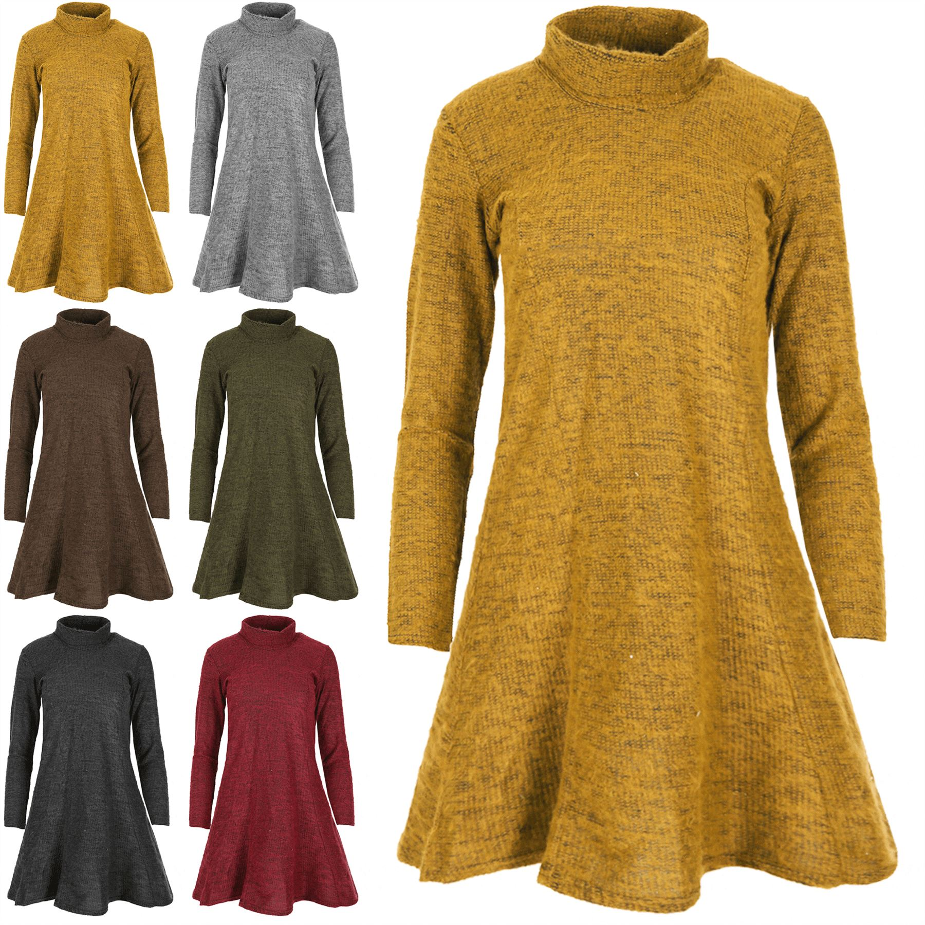 Womens Long Sleeves Ladies High Neck Jumper Knitted Cowl Roll Dress Swing Dress