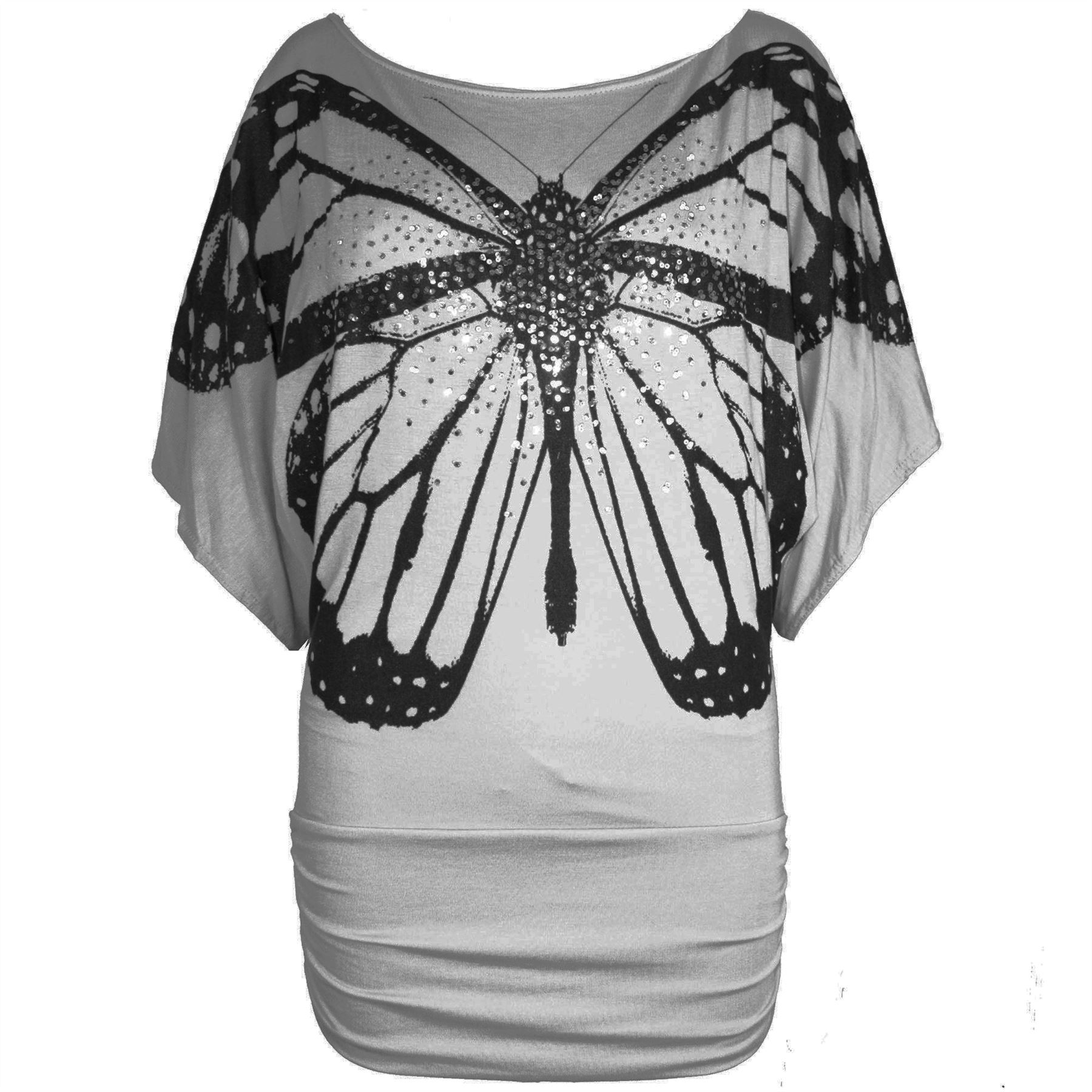 Womens-Off-the-Shoulder-Batwing-Ladies-Sequin-Butterfly-Print-Side-Ruched-Top