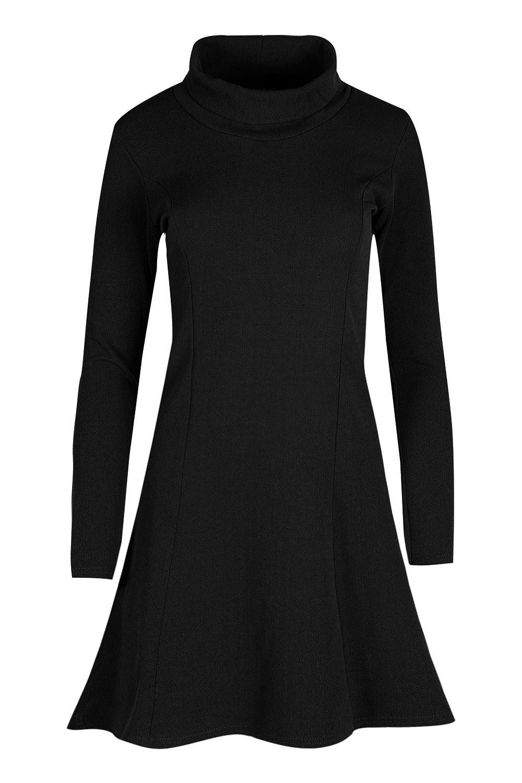Ladies-Womens-Textured-Costume-Cowl-Neck-Long-Sleeve-Swing-Skater-Midi-Dress