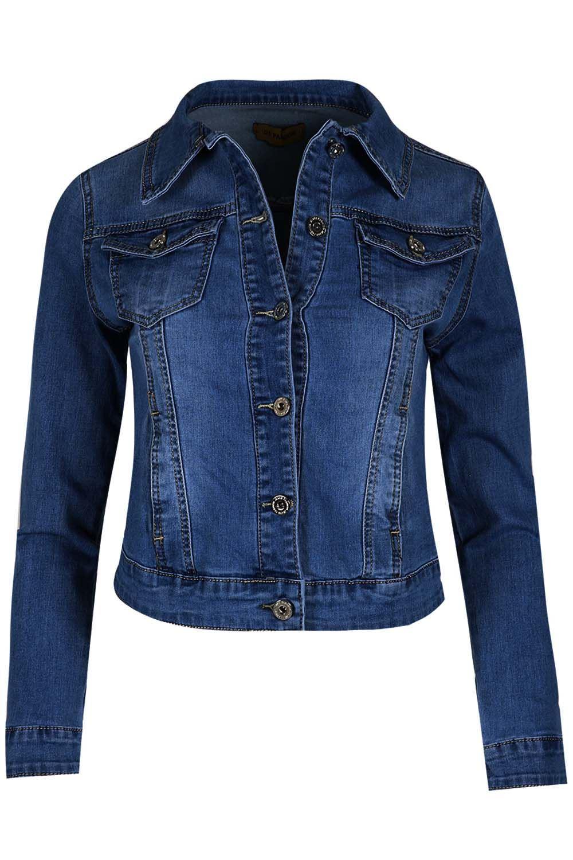 Womens-Ladies-Pockets-Slim-Denim-Jean-Buttons-Down-Coat-Crop-Jacket-Top-Outwear 縮圖 11