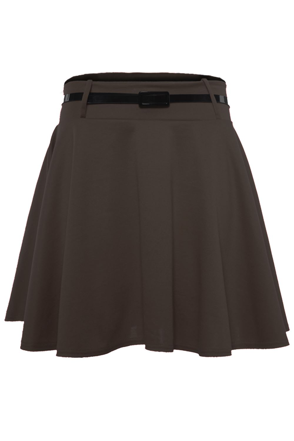 Womens-Ladies-Flared-Flippy-Jersey-Sexy-Party-Belted-Skater-Plain-Mini-Skirt