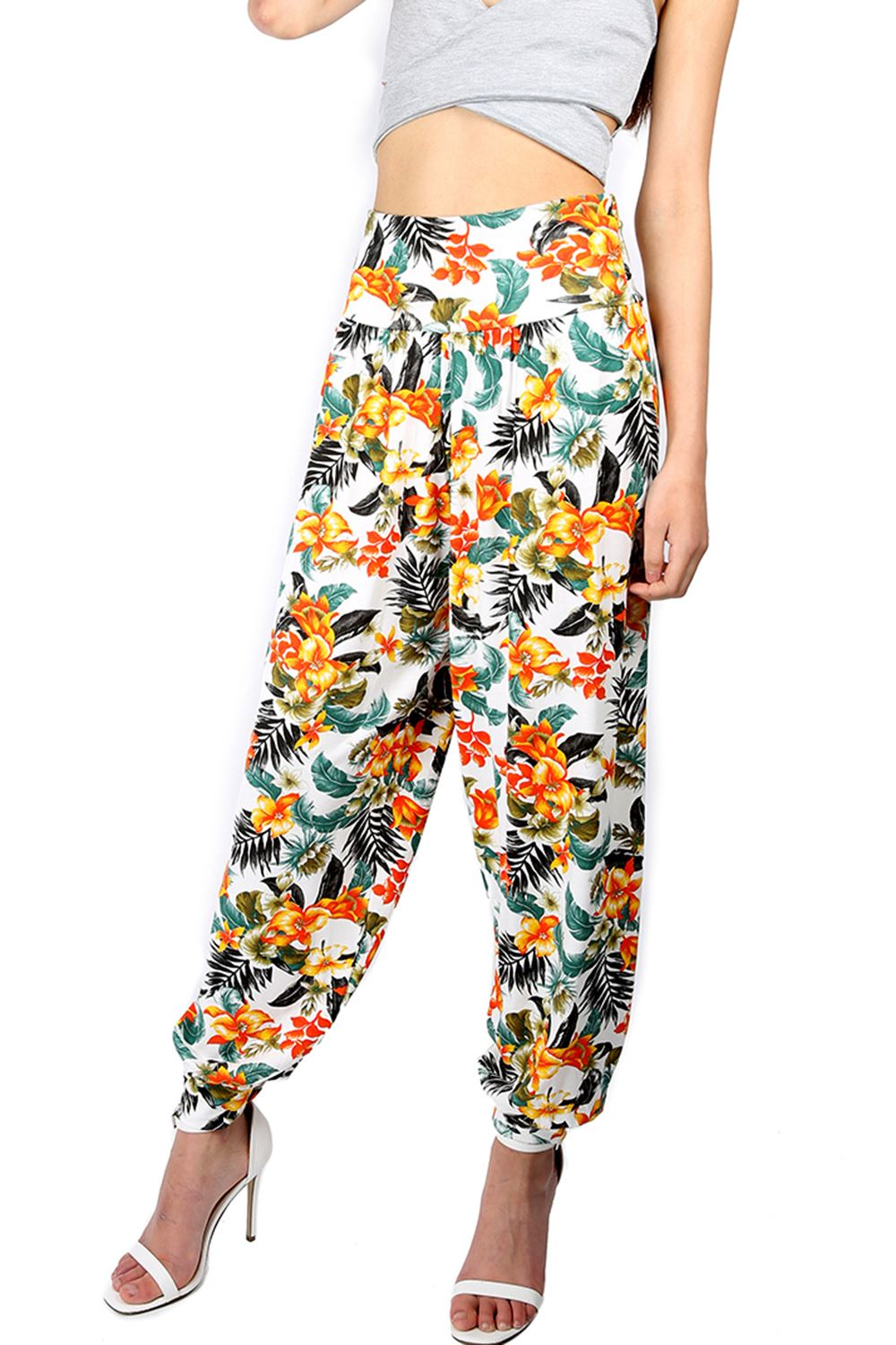 Excellent Womens Printed Harem Pants Cuffed Bottom Ladies Ali Baba Trousers Plus Size 8