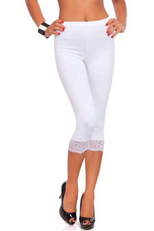 ladies 3 4 length cropped lace trim edge gym womens. Black Bedroom Furniture Sets. Home Design Ideas