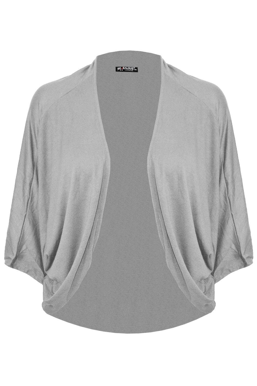 Womens Ladies Casual Batwing Bolero Open Front Cardigan Shrug Baggy Jersey Top