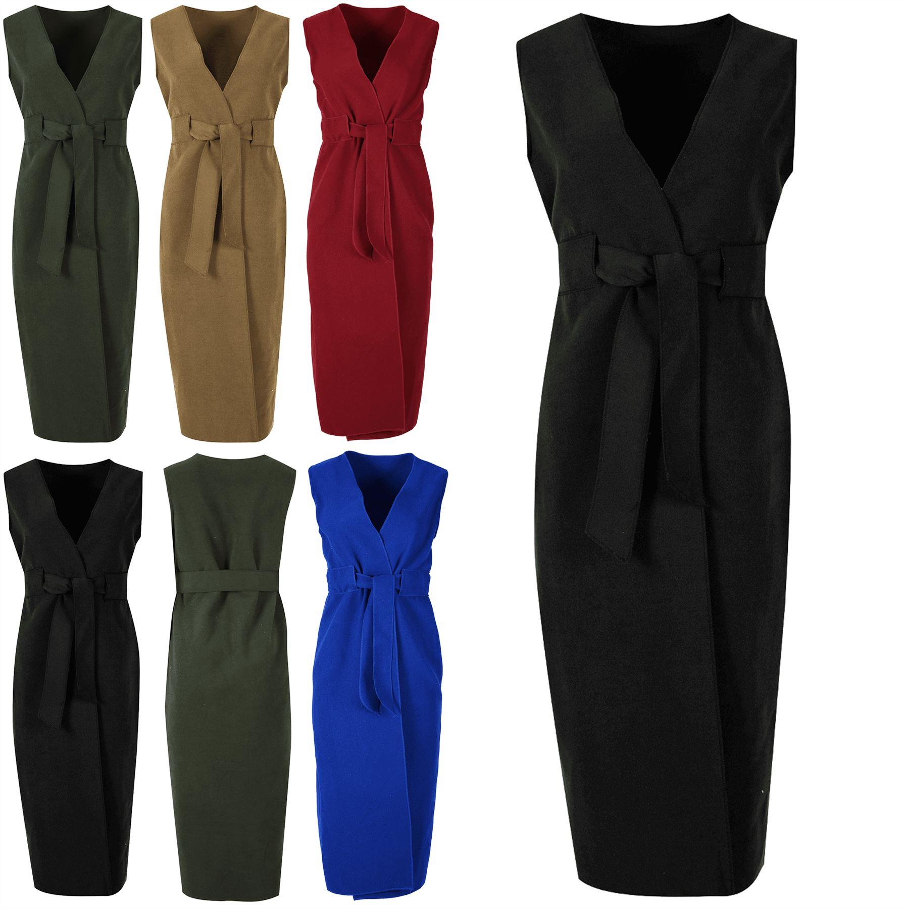 Womens Ladies Fleece Knit Tie Belted Wrap Over Midi Italian Blazer Cape Cardigan