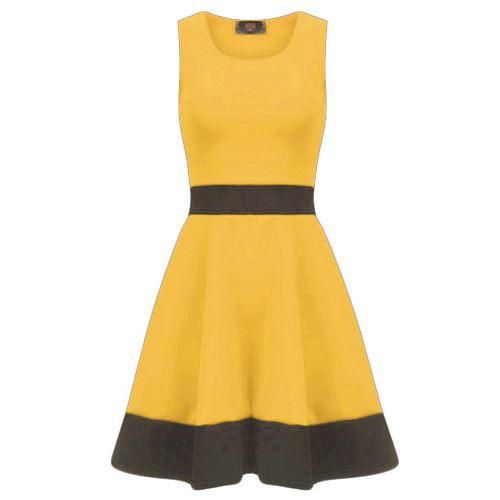 Ladies-Swing-Dress-Ladies-Sleeveless-Contrast-Panel-Franki-Flared-Skater-Dress thumbnail 16