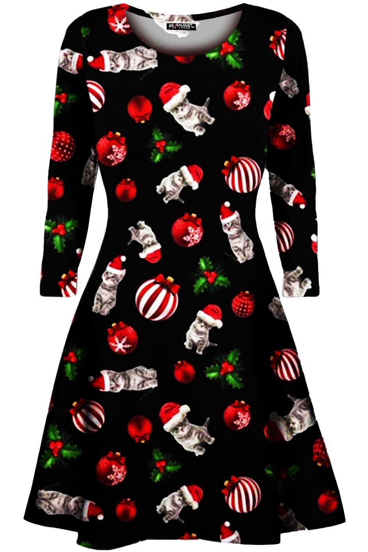 Womens-Xmas-Ladies-Santa-Snowman-Reindeer-Flare-Christmas-Smock-Swing-Mini-Dress thumbnail 28