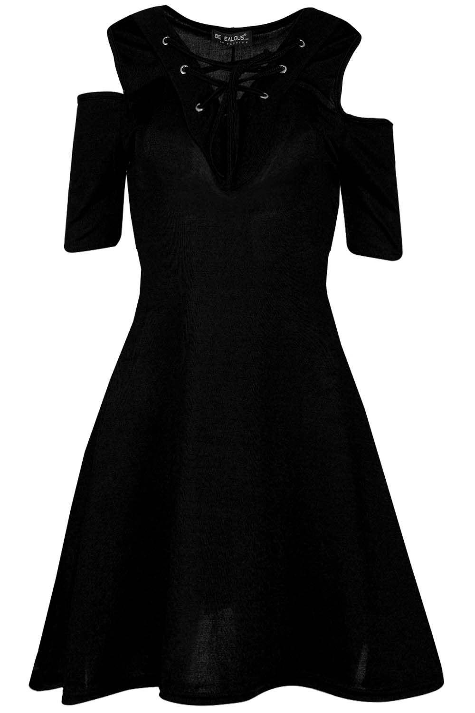 Mujer señoras Ojal frontal Encaje Mangas Cortas Hombro Corte De Frío Vestido de swing