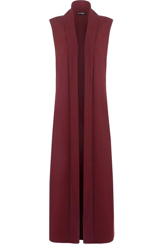 Ladies Women Sleeveless Long Length Jacket Collared Maxi Cardigan ...