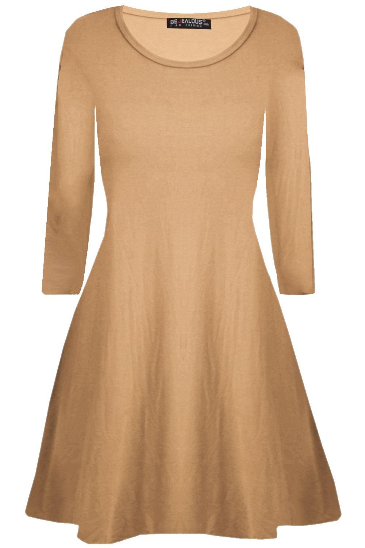 7bebd9bde120 Plus Size Ladies Long Sleeve Plain Flared Womens Party Mini Swing ...