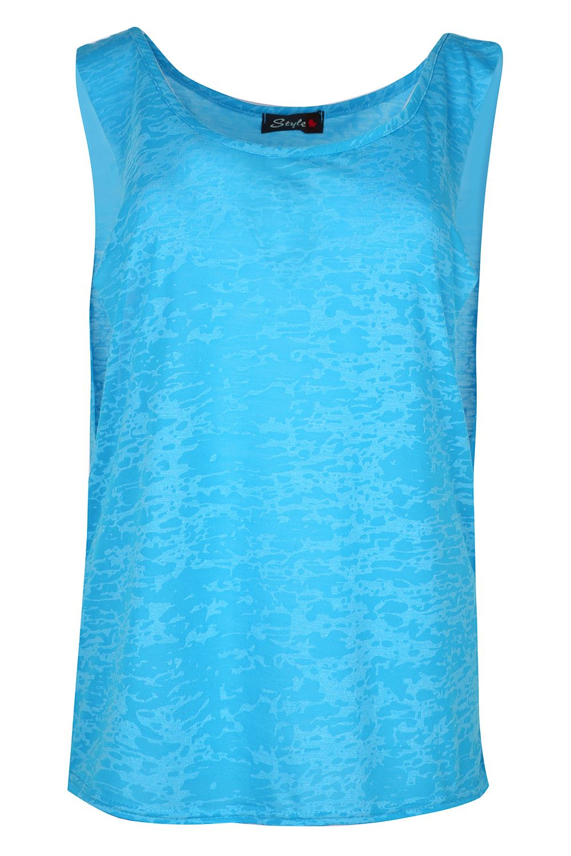 Womens Graphic BurnOut T Shirt Ladies Sleeveless Deep Side Cut Out Tank Vest Top