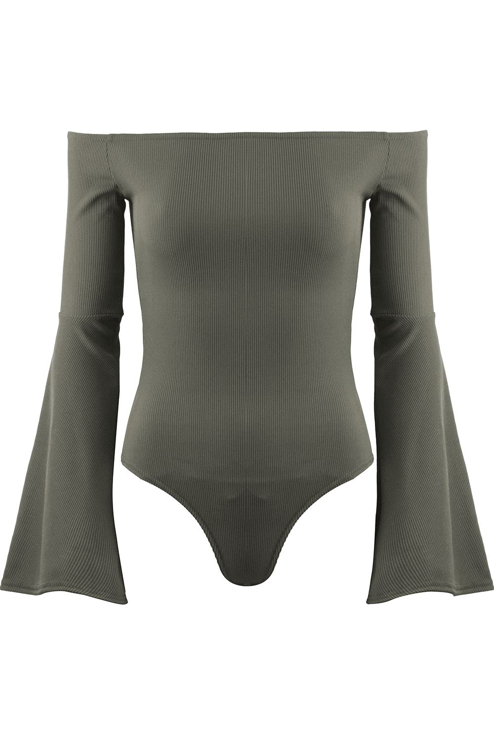 Femme Dames Rib Off épaule the épaule Off Bardot Justaucorps Body Long Bell Manche Tops af68a9