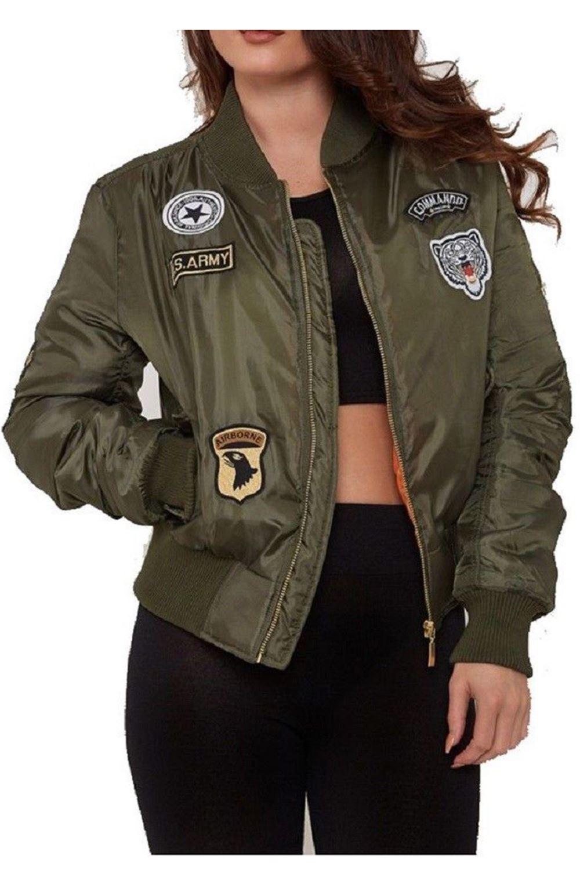 Matching Lining NEW Women Girls MA1 Bomber Padded Vintage Zip Up Biker Jackets