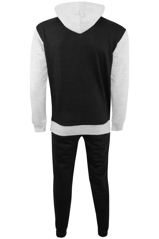 Mens Contrast Panel Hooded Fleece Sweatshirt Zip Pocket Sports Jog Tracksuit Set