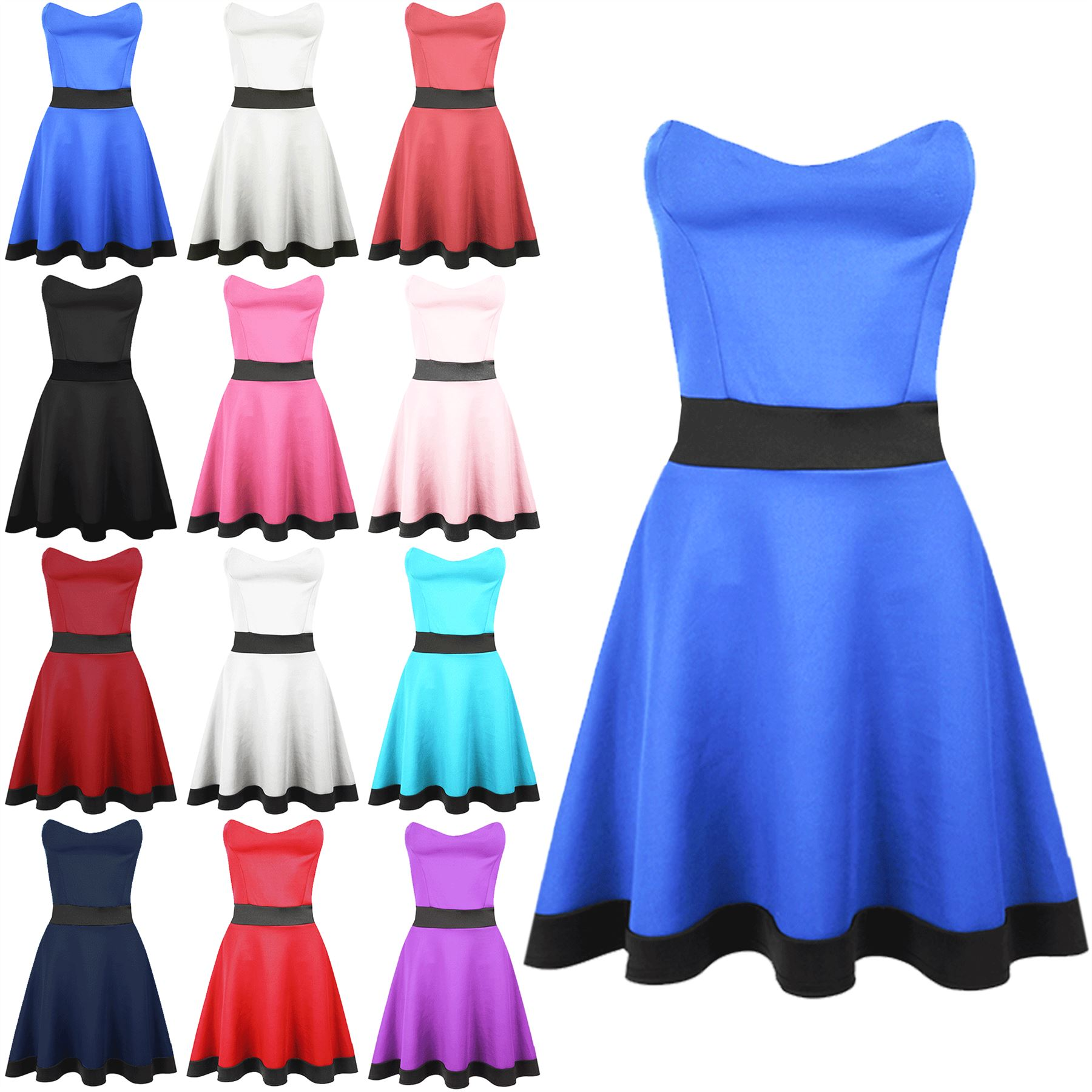 Womens Ladies Contrast Panel Strapless Bandeau Boobtube Flared Mini Skater Dress