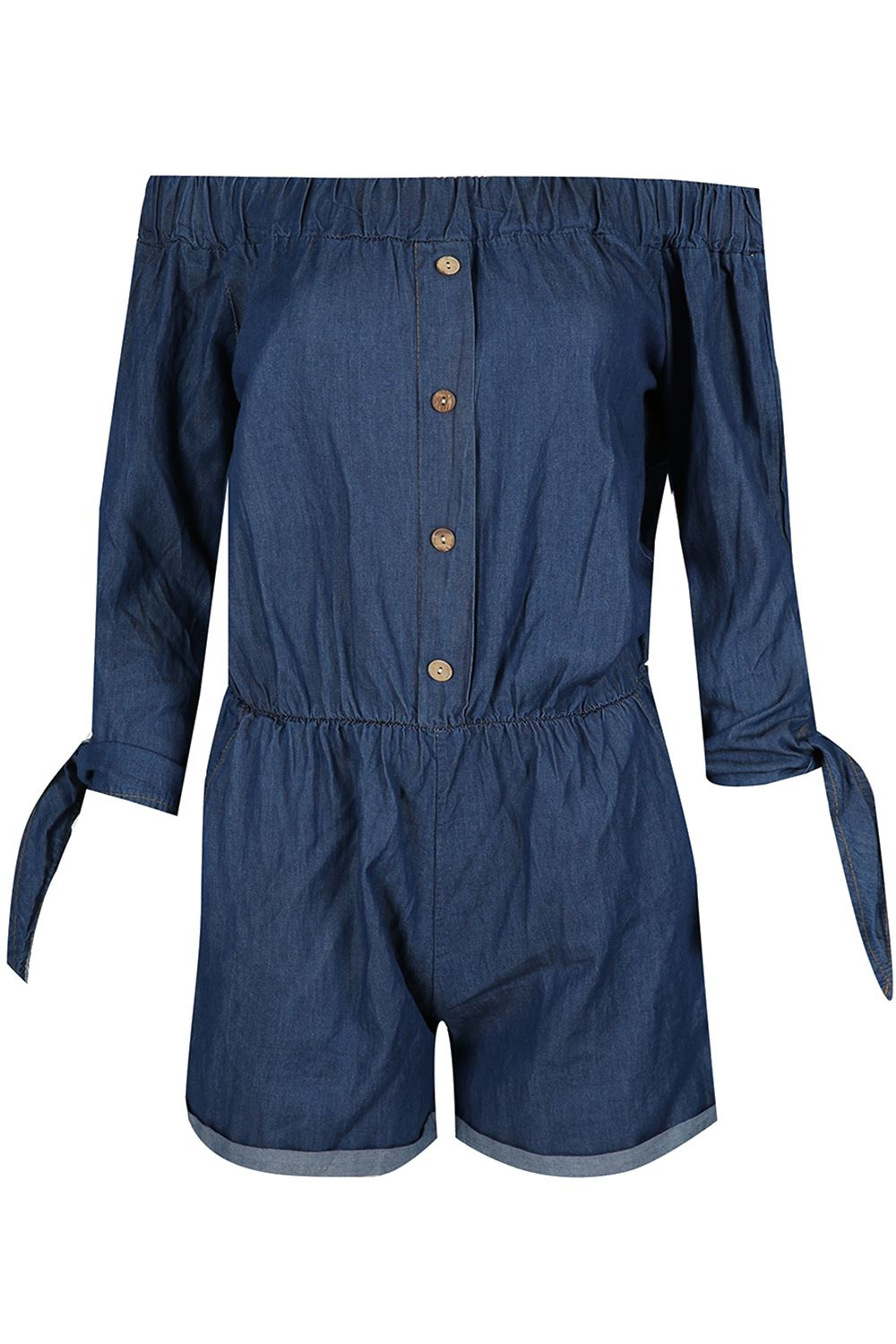 Womens Plains Summer Overall Off the Shoulder Playsuit Ladies Denim 2 in One