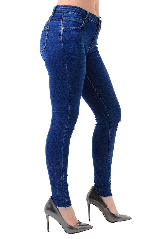 Womens Ladies Knee Destroyed Distressed Ripped Whiskers Skinny Fit Denim Jeans